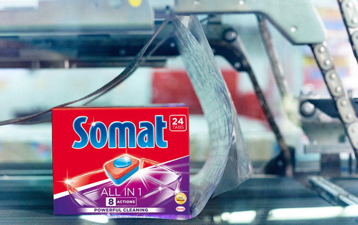 Transport Packaging For Dish Wash Tab Brand Somat Includes 50 Percent Recycled Plastic.